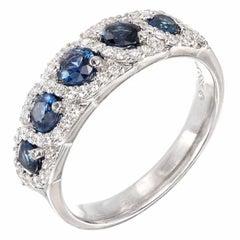 .78 Carat Sapphire Diamond Halo Swirl White Gold Wedding Band Ring