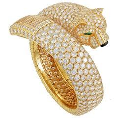 Cartier Diamond Panther Cuff Bangle Watch