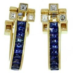 Cartier Blue Sapphire Diamond Yellow Gold Cufflinks