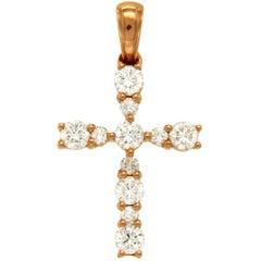 Rose 0.42 Carat VS Diamonds 18 Karat Gold Cross Pendant Charm