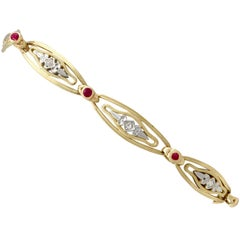 1950s French Ruby and Diamond Gold Bracelet