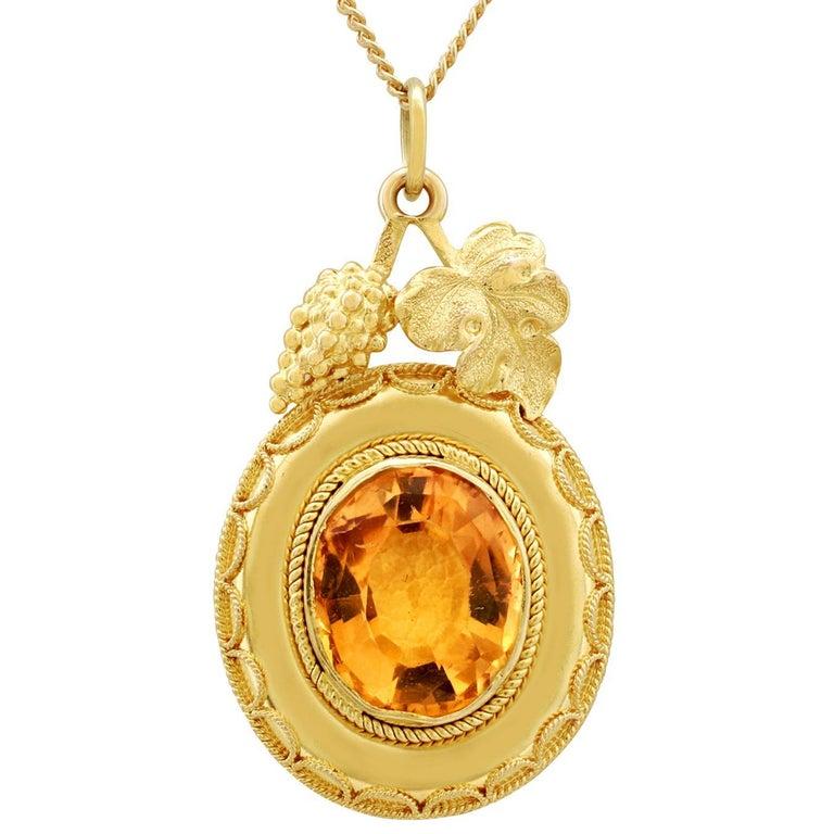Victorian 5.25 Carat Citrine and Yellow Gold Pendant