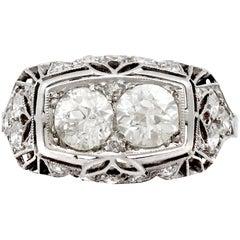 1940s Art Deco 1.73 Carat Diamond and Platinum Cocktail Ring