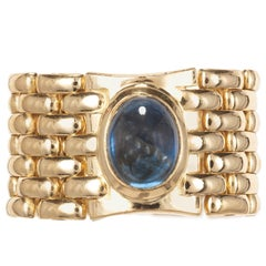 2.40 Carat Oval Cabochon Sapphire Yellow Gold Mesh Ring