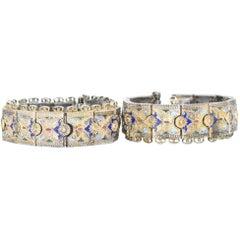 Pair of Victorian Silver Cloisonné Enamel Russian Bracelets