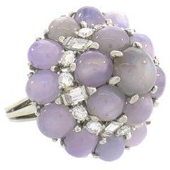 Oscar Heyman Star Sapphire Diamond Platinum Ring