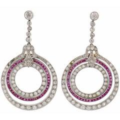 Diamond Ruby Platinum Dangle Earrings, Art Deco 1910s