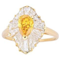 Oscar Heyman 2.74 CTW Fancy Vivid Yellow-Orange Diamond Ballerina Ring