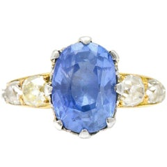 8.66 Carat Cornflower Ceylon Sapphire Mine Diamond Edwardian Platinum 18K Ring