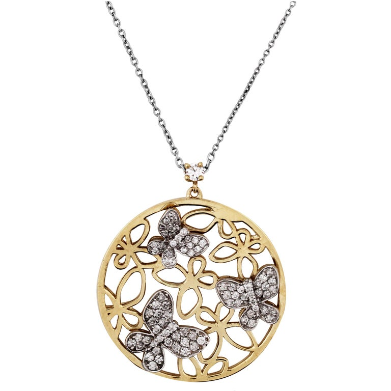 Two-Tone Yellow White Gold and Diamond Butterfly Disk Pendant Necklace