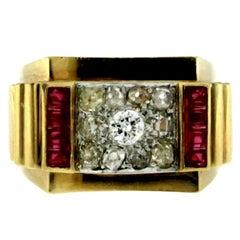 1950s Retro Diamond Ruby Gold Ring
