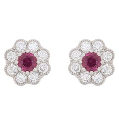 Vintage Ruby and Diamond Halo Earrings, circa 1950s