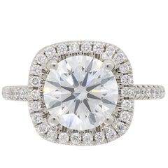 Platinum GIA Certified 1.73 Carat Diamond Halo Engagement Ring