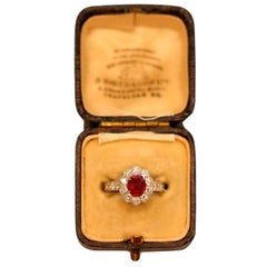 1.2 Carat Burma no heat Pigeon Blood SSEF Certified Ruby and Diamond Ring