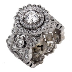 Stambolian White Gold and 0.71 Carat Diamond Wide Band Ring