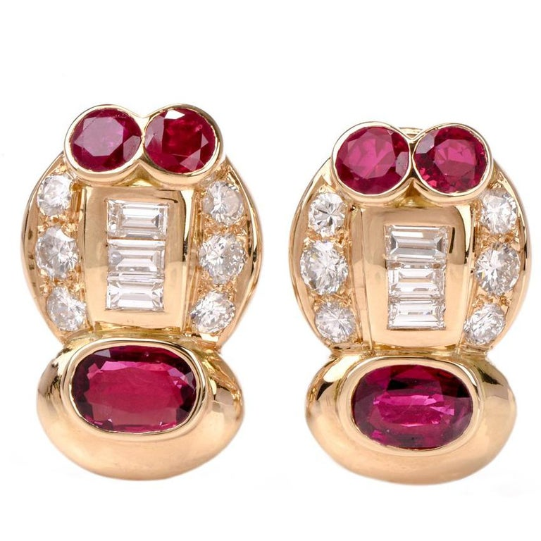1980s Diamond Ruby Clip on 18 Karat Gold Earrings
