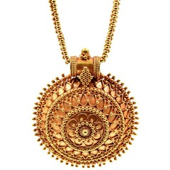 22 Karat Yellow Gold, India Style Necklace with Domed Pendant, 55.2 Grams