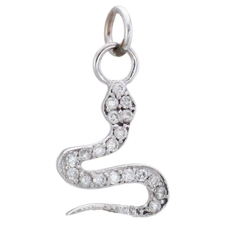 Diamond Snake Charm Pendant Estate 14 Karat White Gold Vintage Fine Jewelry
