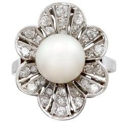 1950s Cultured Pearl and 1.02 Carat Diamond Platinum Cluster Ring