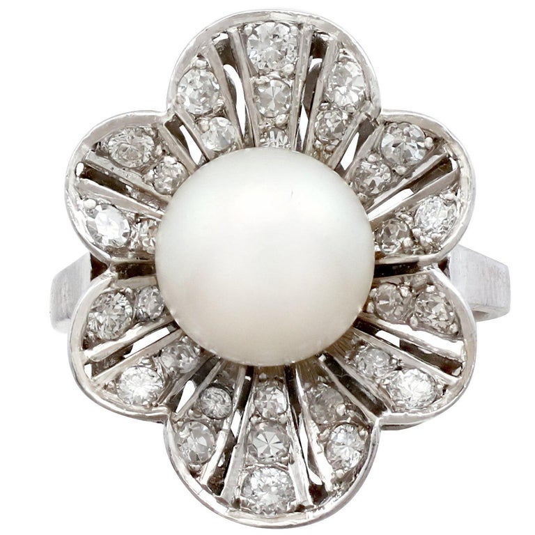 1950s Cultured Pearl and 1.02 Carat Diamond Platinum Cluster Ring