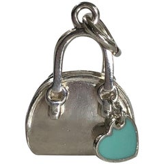 Tiffany & Co. Sterling Silver Handbag Charm or Pendent with Hanging Heart