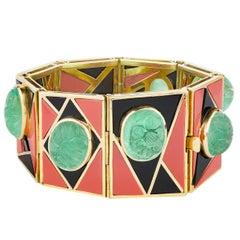 Emerald, Coral, Onyx Modernist Bracelet