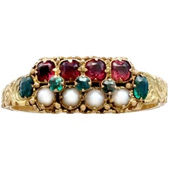 1870s Pearl Emerald Amethyst Yellow Gold Dress Ring
