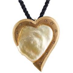 Diamonds Pearl Rose Gold Heart Shape Pendant Necklace