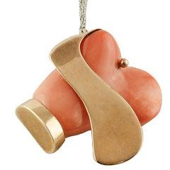 Coral Rose Gold Dog Shape Pendant Necklace