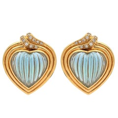 Carrera y Carrera Aquamarine and Diamond Earrings