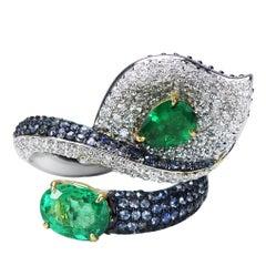 Studio Rêves 18 Karat Gold, Diamond Emerald and Blue Sapphire Leaf Cocktail Ring
