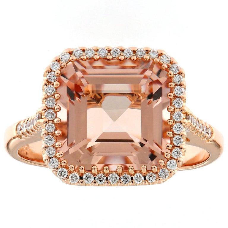 Morganite Diamond Rose Gold Cocktail Ring For Sale