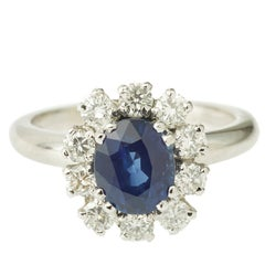 2 Carat Sapphire Diamond Pompadour Engagement Cluster 18 Karat White Gold Ring