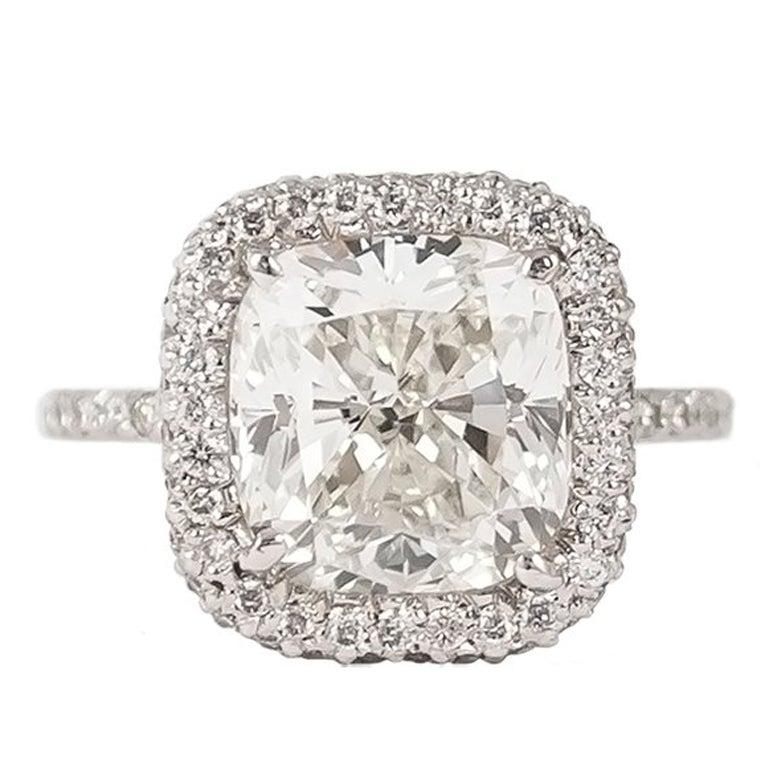 J. Birnbach GIA Certified 4.64 Carat Cushion Modified Brilliant Diamond Ring