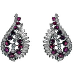 Gübelin Ruby Diamond Platinum Earrings