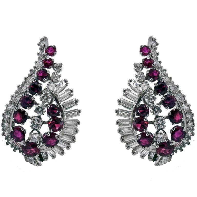 Gübelin Ruby Diamond Platinum Earrings For Sale