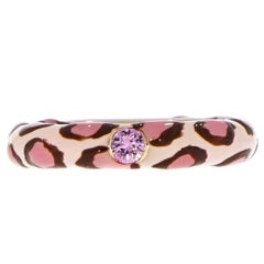 Pink and Brown Leopard Enameled Stackable Band by Adolfo Courrier