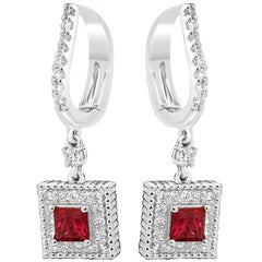 Ruby Princess Cut White Round Single Diamond Halo Gold Drop Lever Back Earring