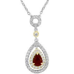 Ruby Pear Diamond Round Double Halo Two-Color Gold Diamond by Yard Necklace