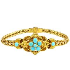Victorian 21 Karat Yellow Gold Turquoise Bracelet