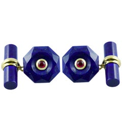 18 Karat Yellow Gold Rubies and Lapis Lazuli Cufflinks