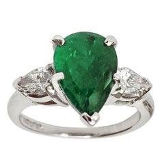 Estate Emerald and Diamond Engagement Platinum Ring Three-Stone Pear Shape