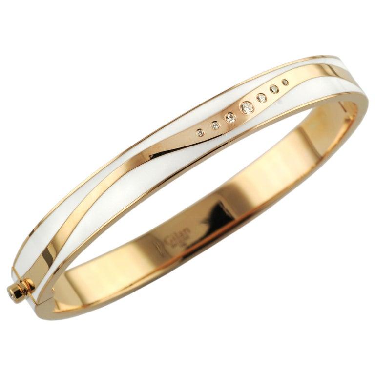 0.13 Carat Diamond White Enamel  18 Karat Rose Gold Cintemani Bangle Bracelet