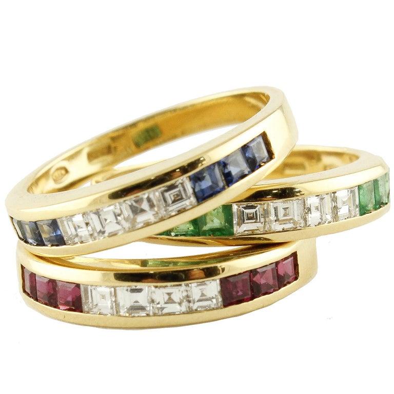 Emeralds Rubyes Sapphires Diamonds 18 Karat Yellow Gold Ring