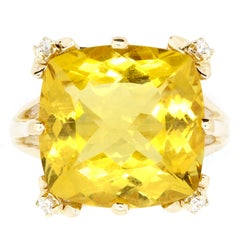 9.80 Carat Cushion Cut Yellow Beryl and White Diamond Ring