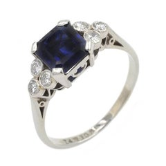 AGL Natural No Heat 1.63 Carat Sapphire and Diamond Ring