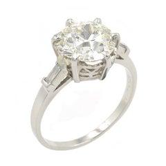 Platinum Edwardian Engagement Ring 3.18 Carat Old European Cut GIA