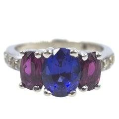 Sapphire Ruby Three-Stone Platinum Estate Ring