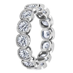 Emilio Jewelry .30 Carat Each Cushion Cut Eternity Band Set in Platinum