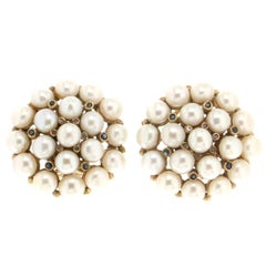 Pearls 18 Carat Yellow Gold Diamonds Stud Earrings